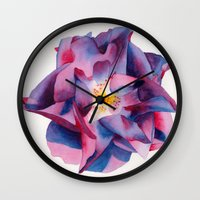 thanksgiving Wall Clocks featuring Thanksgiving Dahlia by Powers Fine Art Watercolor Studio