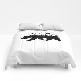 Bear Forest T Shirt Grizzly Silhouette Motif Nature Fusion Comforters