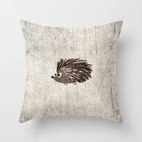 hedgehog Throw Pillows featuring Hedgehog by Mr and Mrs Quirynen