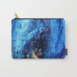 Vortex: a vibrant, blue and gold abstract mixed-media piece Carry-All Pouch
