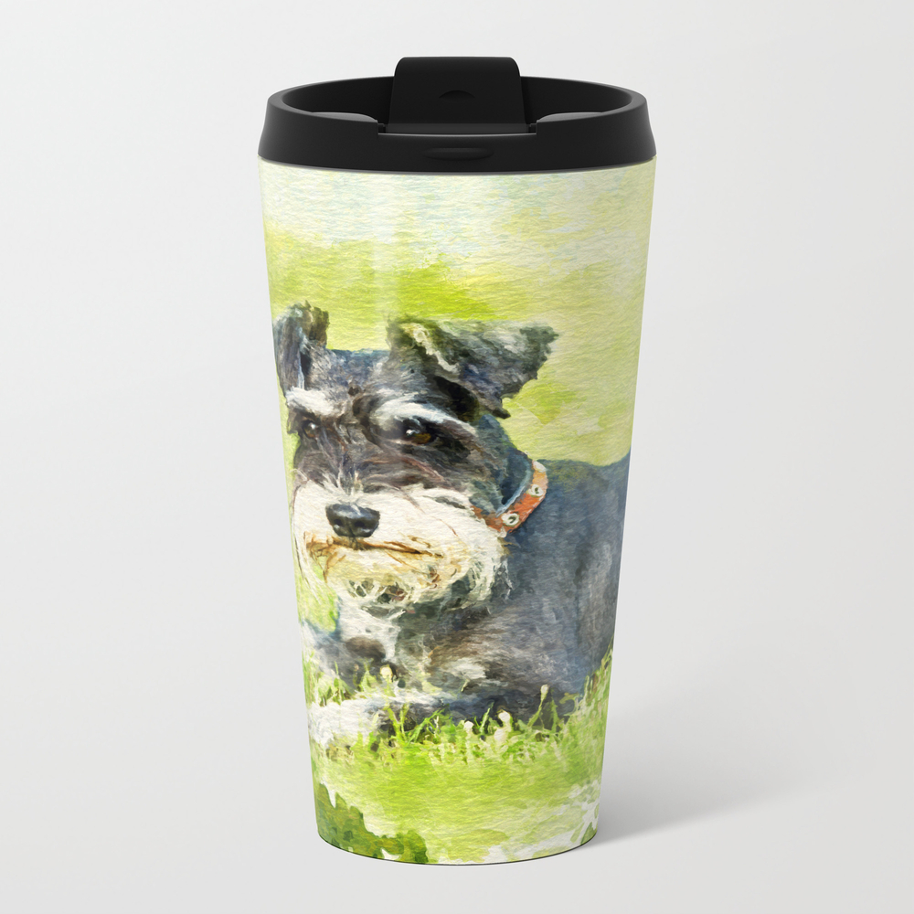 Miniature Schnauzer Watercolor Digital Art Travel Cup TRM8886587