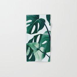 Monstera Tropical Photography Digital Art, Minimal Nature Jungle Botanical Leaves Hand & Bath Towel