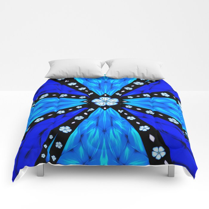 Onyx Beams of Flowers and Gems Comforters
