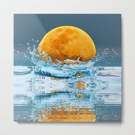 FALLING MOON OCEAN SCI-FI ILLUSION Metal Print