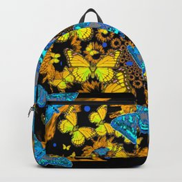 DECORATIVE BLUE & GOLD BUTTERFLIES ON EBONY BLACK Backpack