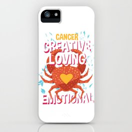 Cancer Zodiac Horoscope Crab Spirit Animal iPhone Case