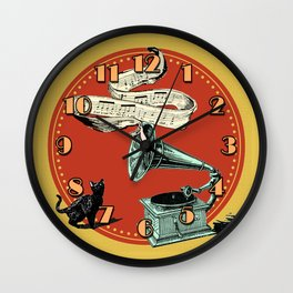 The Cat and the Cat Song (red) Wall Clock