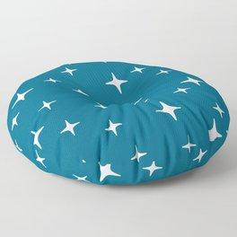 Mid Century Modern Star Pattern 443 Peacock Blue Floor Pillow