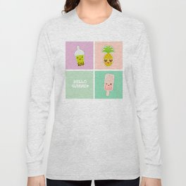 Hello Summer bright tropical card, pineapple, smoothie cup, ice cream, bubble tea. Kawaii cute face. Long Sleeve T-shirt