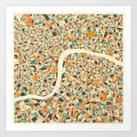 london map Art Prints featuring LONDON MAP by Jazzberry Blue