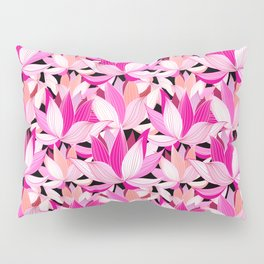 vector seamless pattern beautiful pink lotus flowers on a black background Pillow Sham