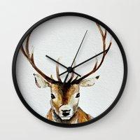 craftberrybush Wall Clocks featuring Buck - Watercolor by craftberrybush