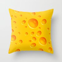 cheese Throw Pillows featuring Cheese by MikiMikibo