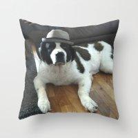 jenna kutcher Throw Pillows featuring Jenna by Pop Art Pet Portraits