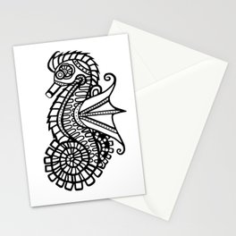 Steampunk Seahorse Stencil Stationery Cards