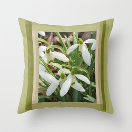 Spring Snowdrops Throw Pillow
