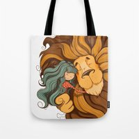 lion Tote Bags featuring Lion by Tatiana Obukhovich