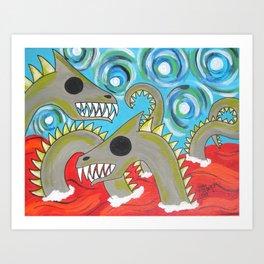 Lake Creatures Art Print