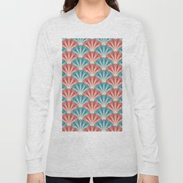 Colorful Abstract Peacock Feather Pattern Long Sleeve T-shirt