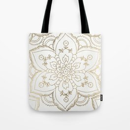 Chic elegant white faux gold spiritual floral mandala Tote Bag
