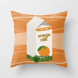Orange Milk Throw Pillow
