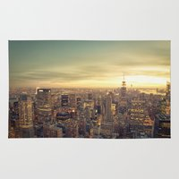 new york skyline Area & Throw Rugs featuring New York Skyline Cityscape by Vivienne Gucwa