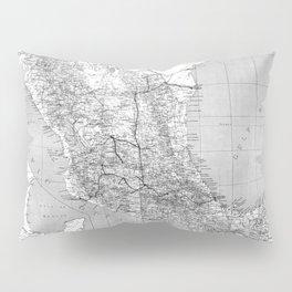 Vintage Mexico Railroad Map (1881) BW Pillow Sham