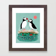 Puffins - Bird Art, Shorebird, Sea bird, birds, Cute illustration by Andrea Lauren Framed Art Print