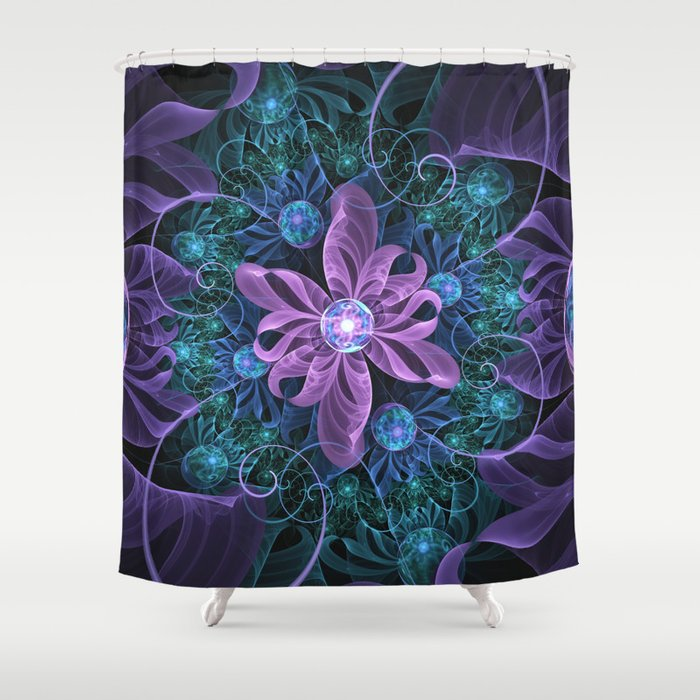 Bejeweled Butterfly Lily of Ultra-Violet Turquoise Shower Curtain