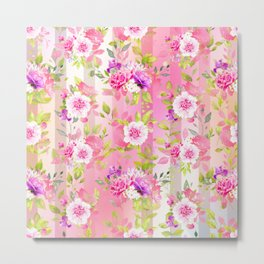 Floral Stripe Pattern Metal Print