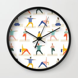 Yoga Pattern | Yoga Namaste Health Meditation Yogi Wall Clock