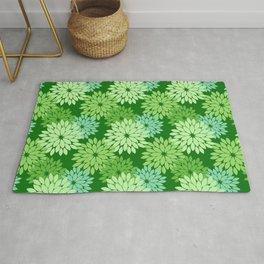 Modern Floral Kimono Print, Lime Green Rug