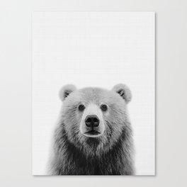 Brown Bear Black&White Canvas Print