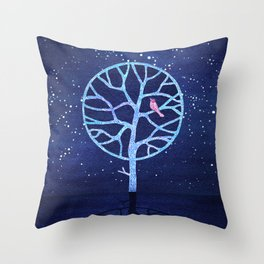 Nightingale tree Throw Pillow
