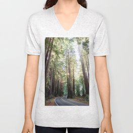 Redwood Trees and the Highway Unisex V-Neck