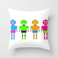 robots Throw Pillows featuring robots by myepicass