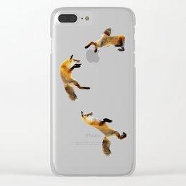 Fox Snow Jump Clear iPhone Case
