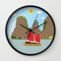 vietnam Wall Clocks featuring Vietnam View by Design4u Studio