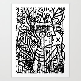 Black and White Street Art Creatures on Italian Train Ticket Art Print