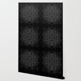 Black Slate Gray Floral Pattern Wallpaper