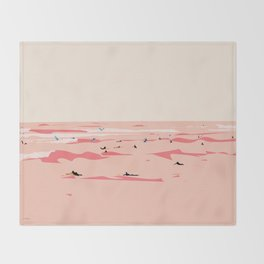 Sunset Tiny Surfers in Lima Illustrated Throw Blanket