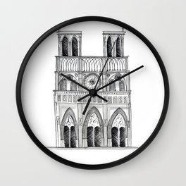 Notre Dame Sketch Wall Clock