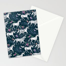Unicorns and Stars on Dark Teal Stationery Cards