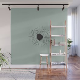 Sun Line Drawing - Black Wall Mural