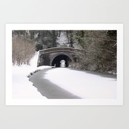 Snowing on the canal Art Print
