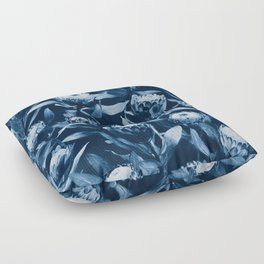 Evening Proteas - Denim Blue Floor Pillow
