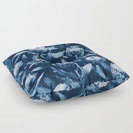 Evening Proteas - Denim Blue Floor Pillow