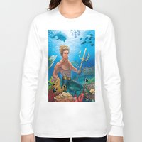 aquaman Long Sleeve T-shirts featuring Aquaman Black Lagoon (Sun Kissed Water Version) by Brian Hollins art