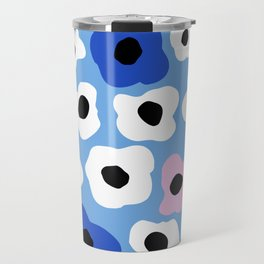 Pink Pop and Blue Contemporary Floral Pattern Travel Mug