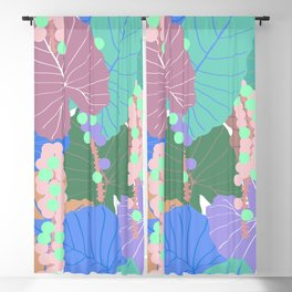 Elephant Ear Leaves + Sea Grapes in Muted Pastel Blackout Curtain